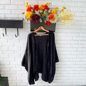 Black Oversized Poncho Wrap Cardigan OSFM